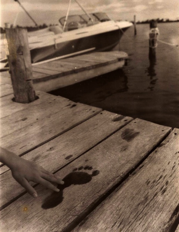 Footprints on the pier