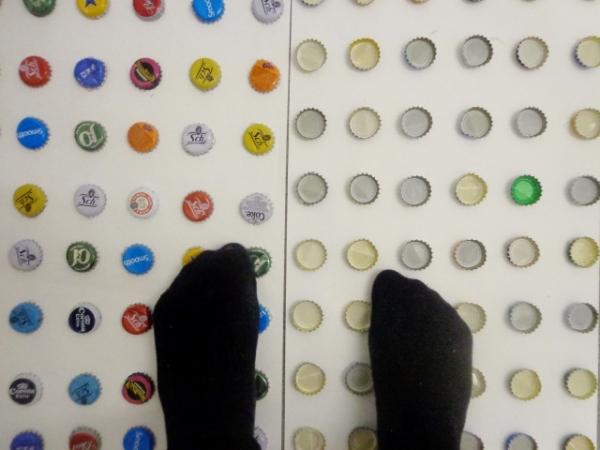 Walking on bottle caps (2)