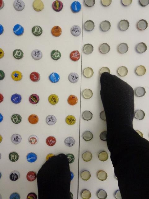 Walking on bottle caps (4)