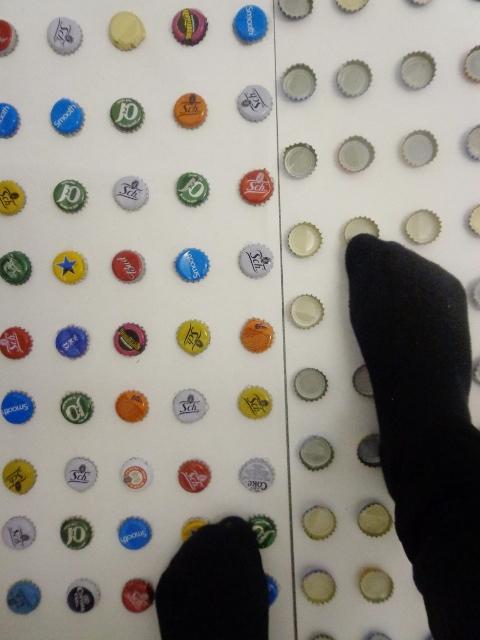 Walking on bottle caps (5)