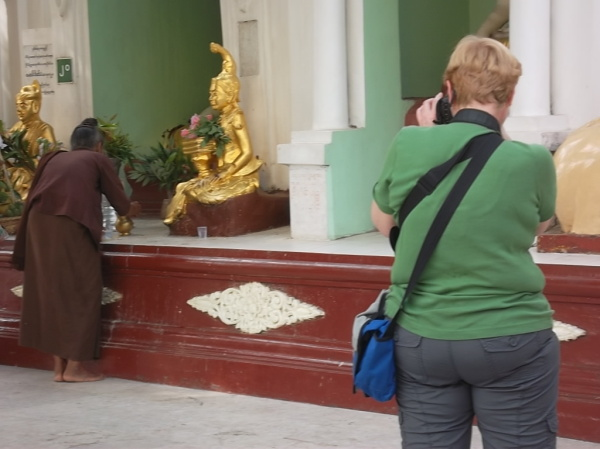 At Shwedagon Pagoda of Burma