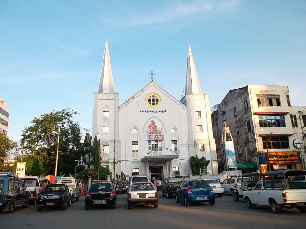 A church at Rangoon in Burma