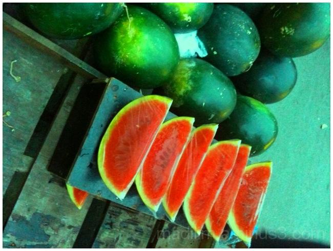 sliced watermelon on