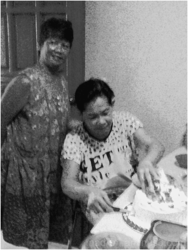 mother and friend, cake cutting, birthday