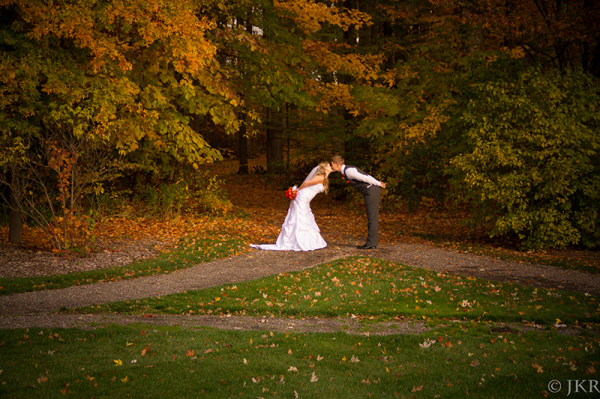 Stealing a Kiss by the Woods.