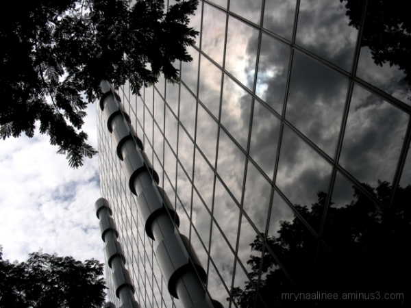 Silver Wood Glass and Clouds
