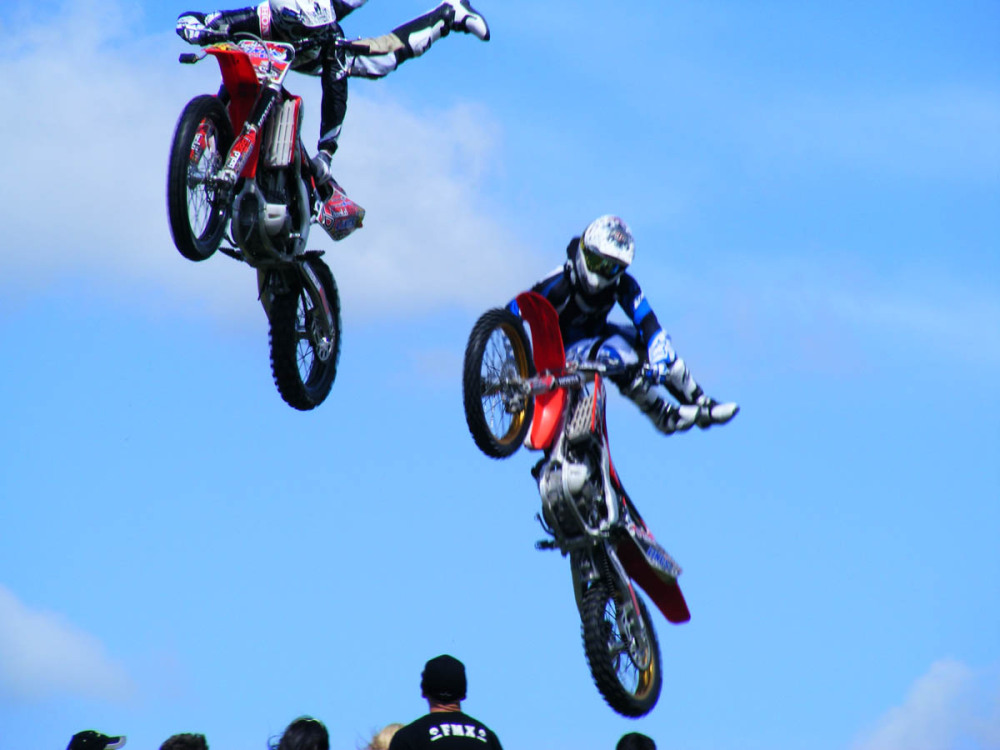 Motoircycle stunt riders not Red Bull