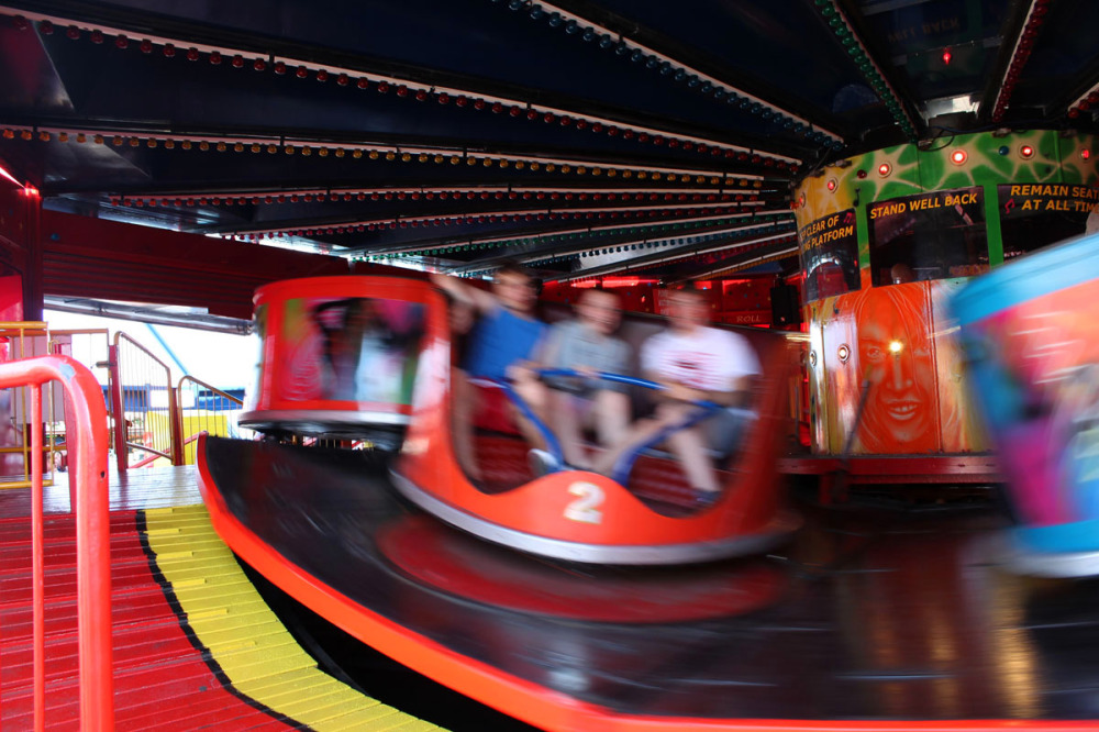 waltzer car spinning at a funfair
