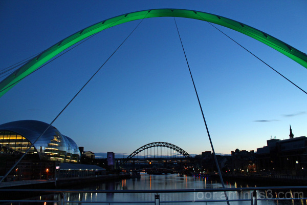 Early evening on the Tyne in Newcastle from the mi