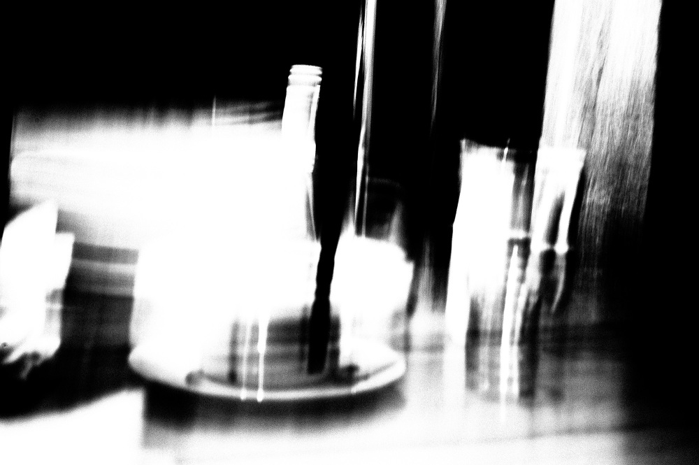 Cafe table converted to extreme b&w via contrast.
