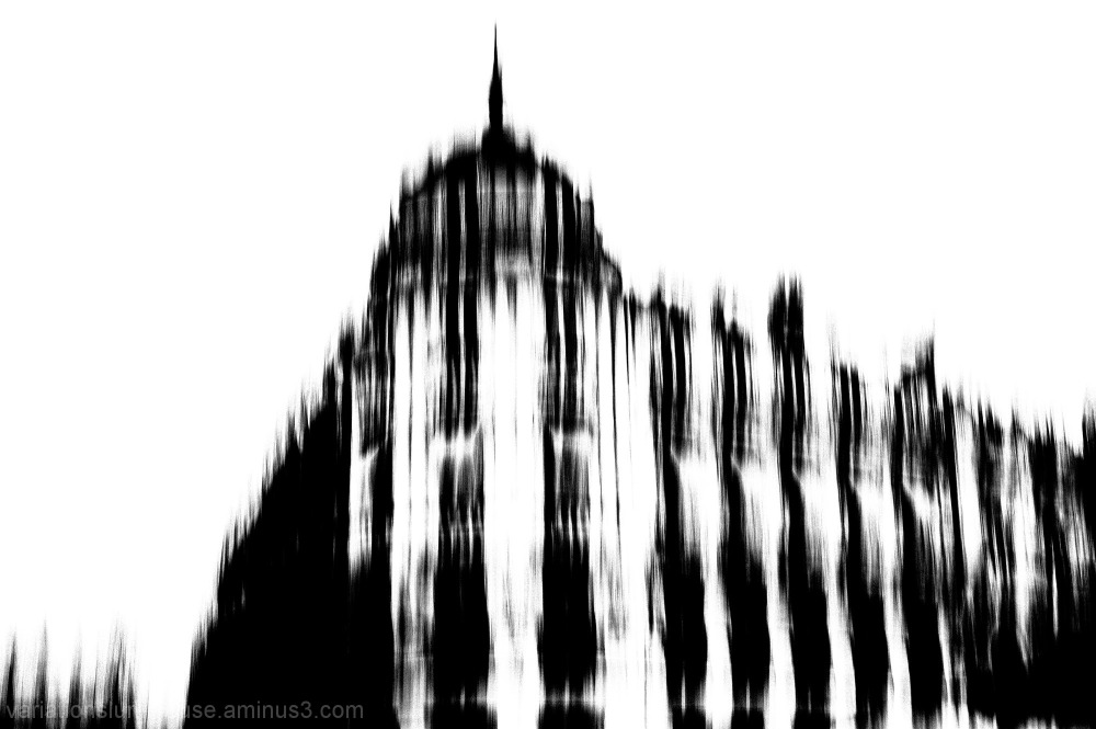 Blurred buildings in b&w in Montpellier, France.