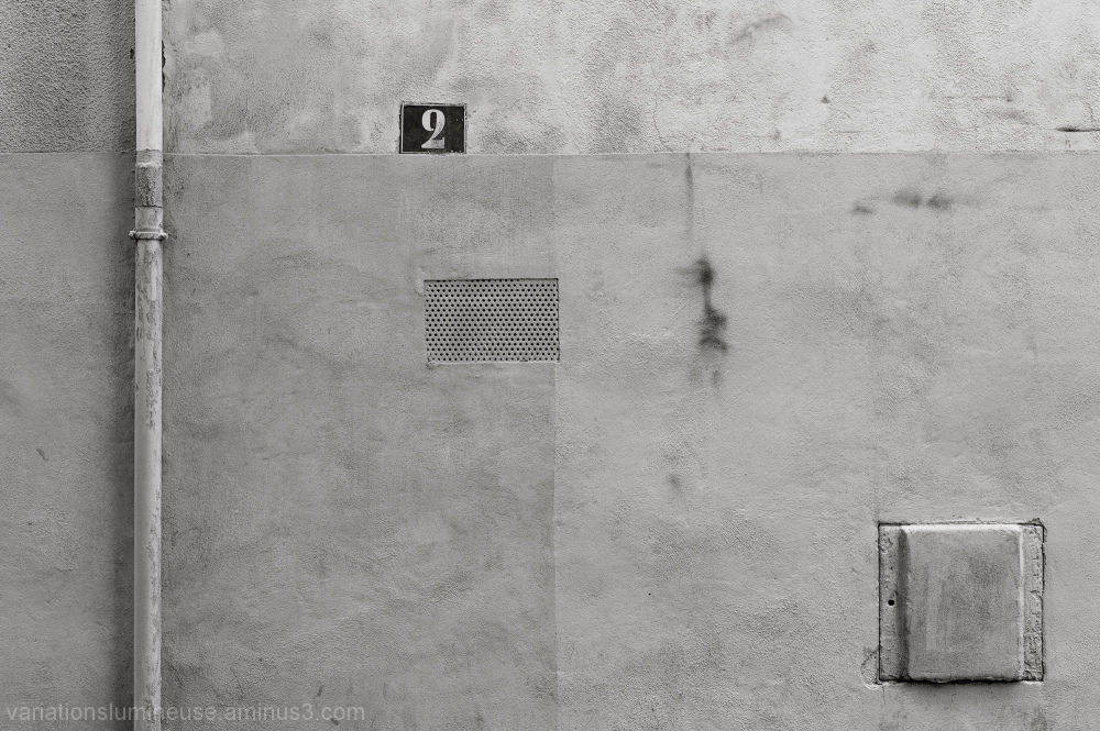 A wall with various elements.