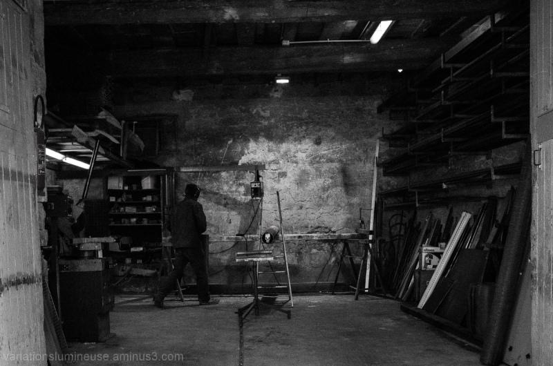 Worker in his workshop.