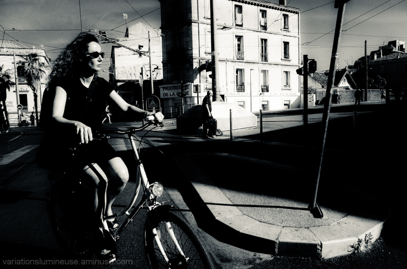 Woman cycling to work.