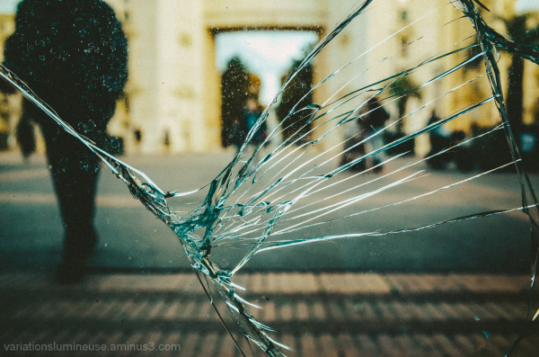 Broken glass.