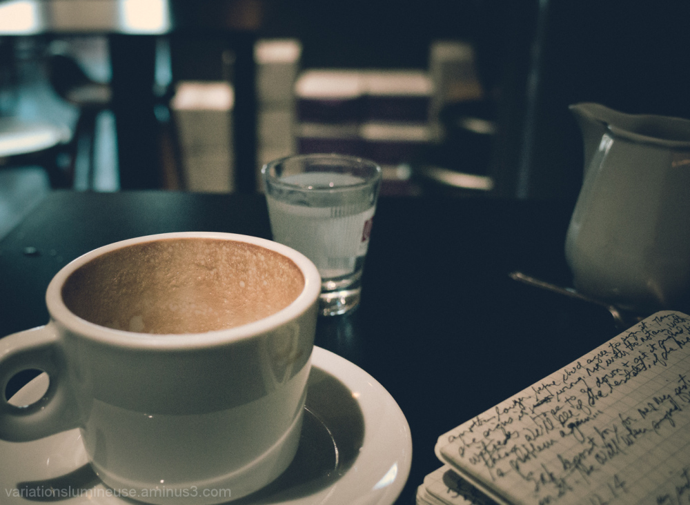 Coffee and notebook.
