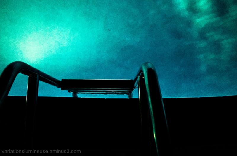 Swimming pool in Miami Beach at night.