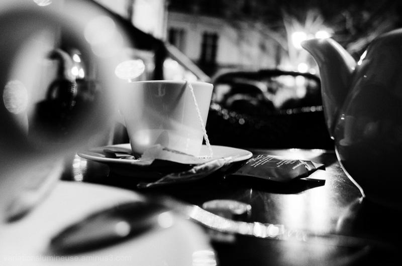 Nightime tea outdoors in Montpellier.