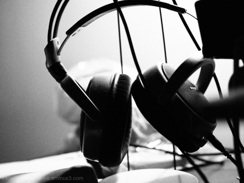 Headphones in black and white.