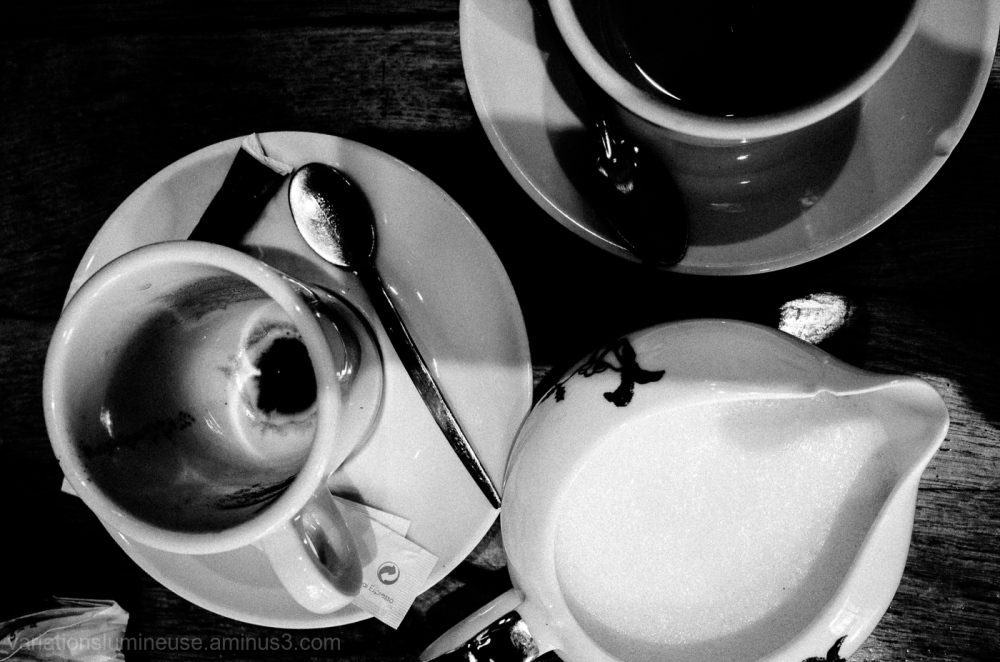 Coffee at french cafe in Montpellier, France.