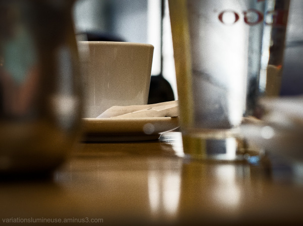 Table in french cafe.