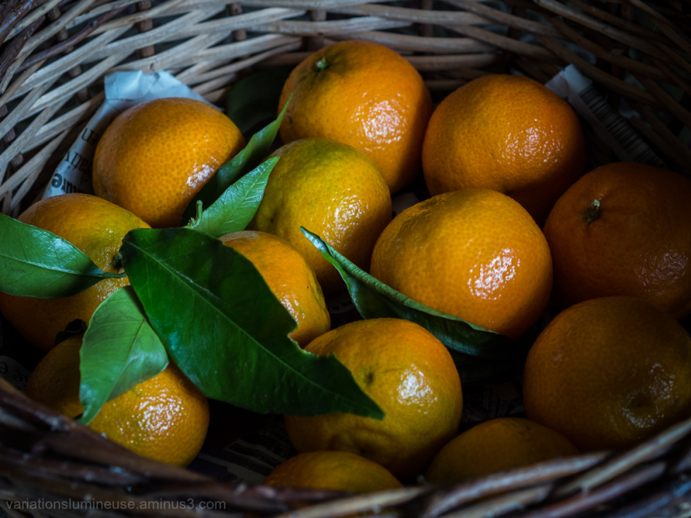 Basket of bright orange clementine.