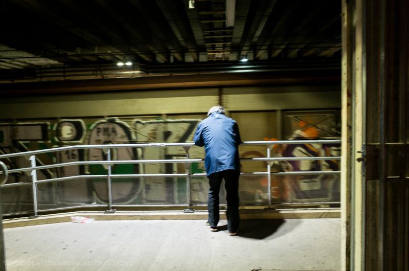 Train covered in graffiti.