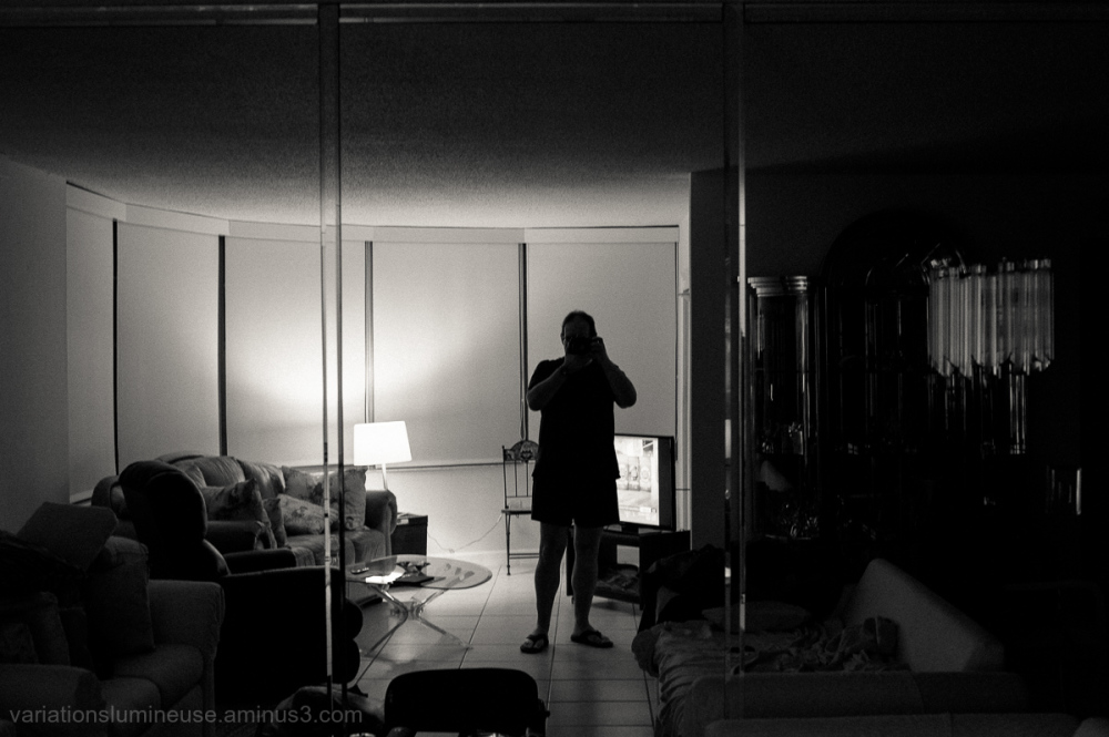 Self-portrait in mirror.