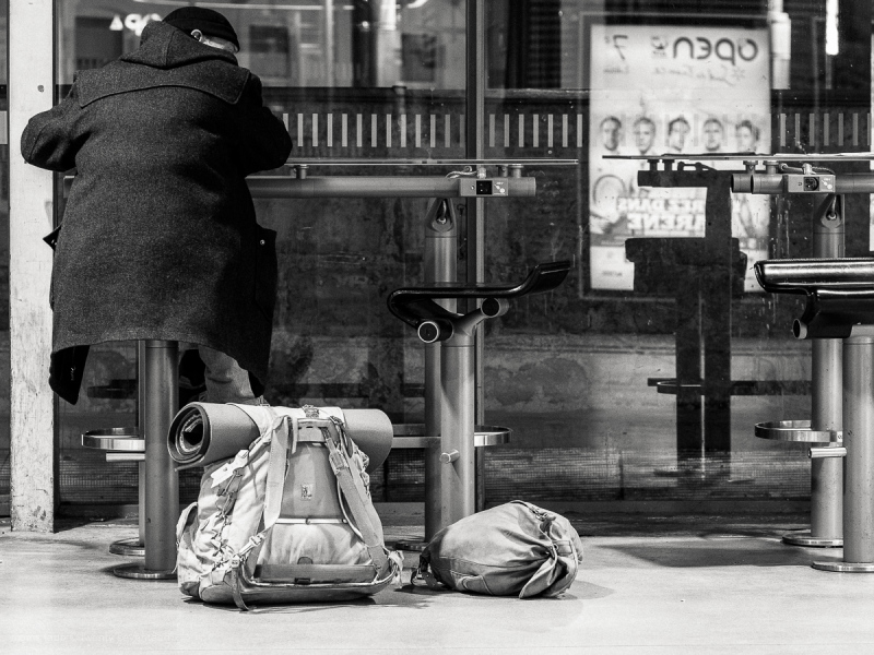 Man waiting in a train station, Montpellier France