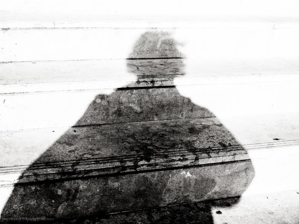 Black and white self portrait.
