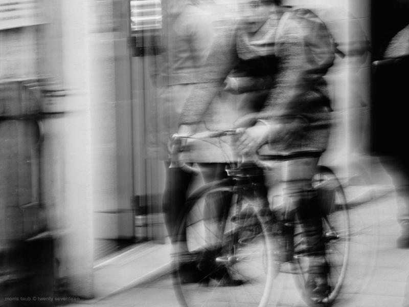 Bike rider pedestrians street.