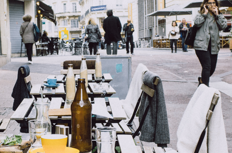 Tables outside a cafe restaurant.