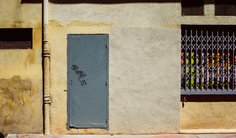 The gray door.