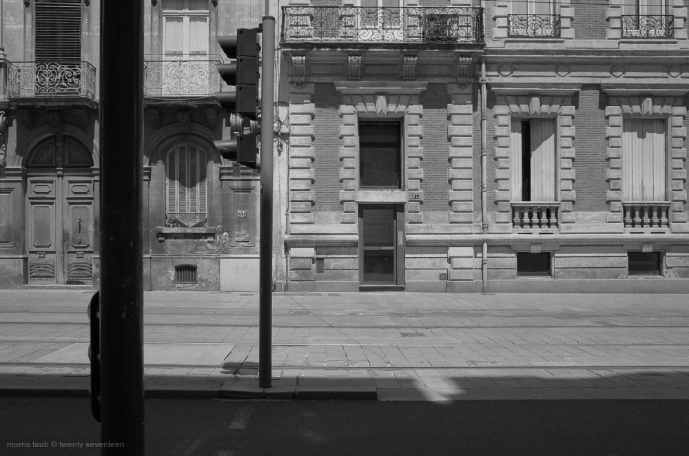 Old french building in black and white.