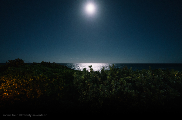 Full moon over Miami Beach, Florida.