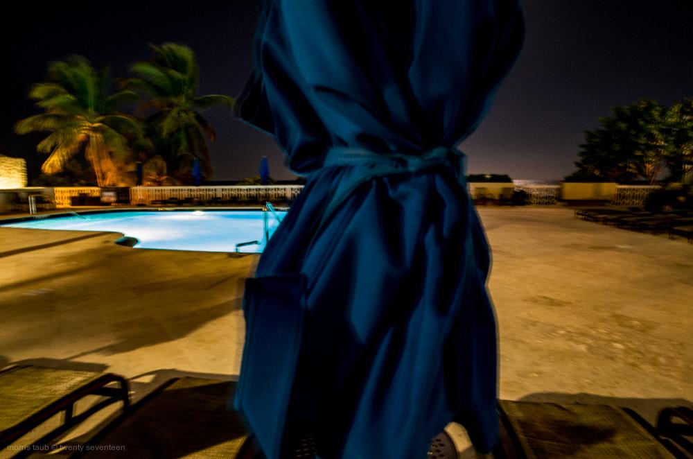 Pool area at night Miami Beach, Florida.