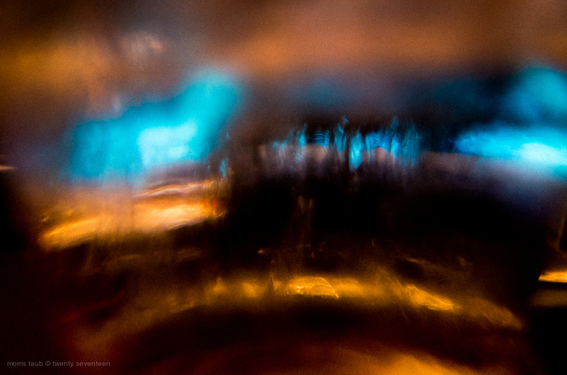 Abstract color in a glass of water and ice.