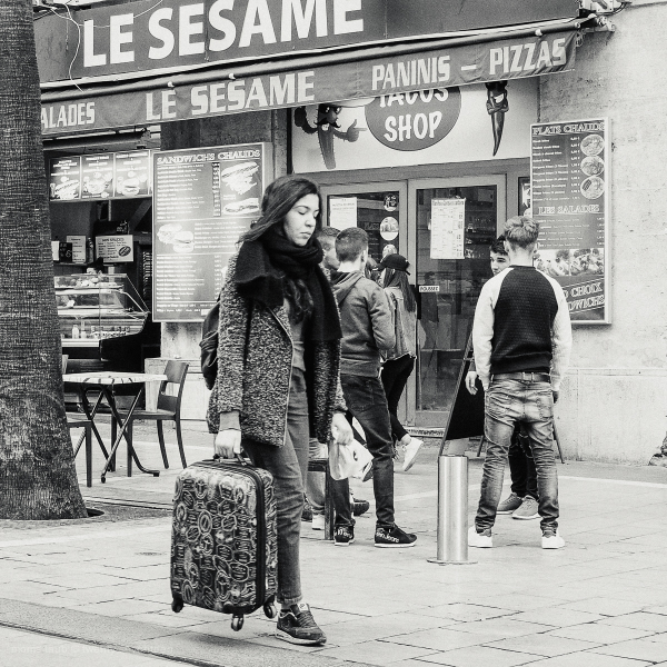 Woman walking.