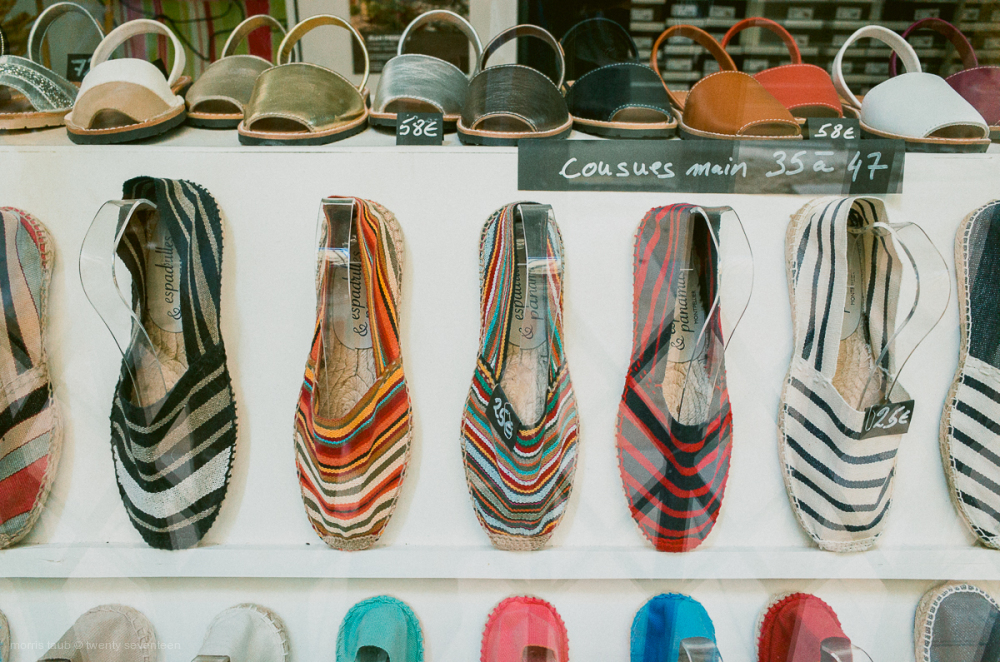 Store window with summer shoes. Espadrilles.