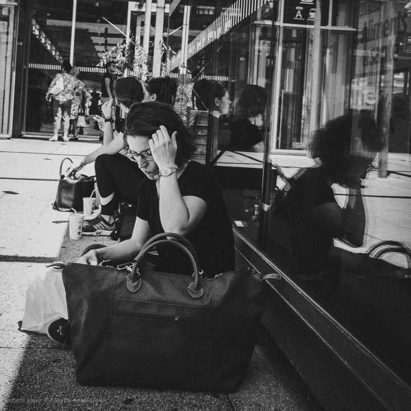 Waiting, eating, for the next train.