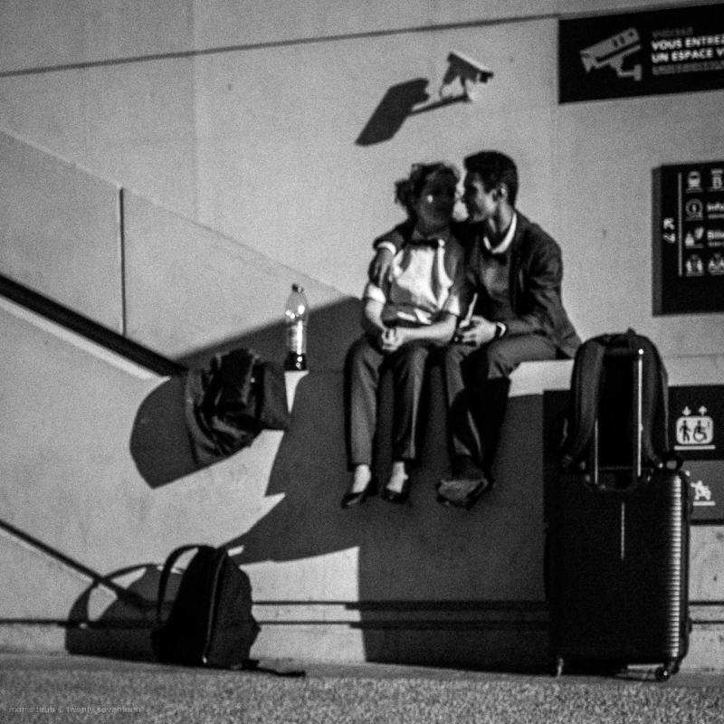 Couple blurred in black and white.