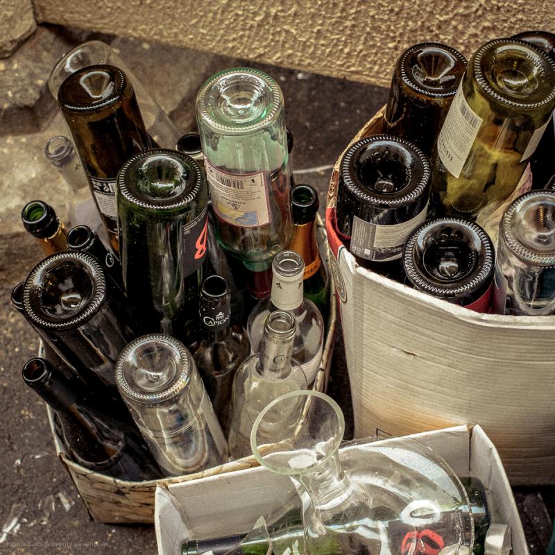Empty bottles.