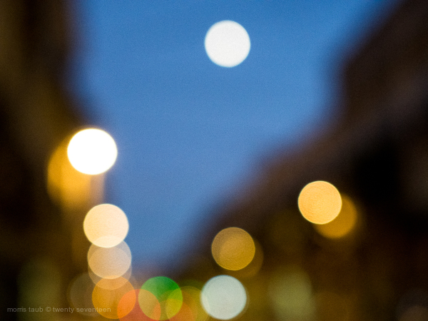 Blurred colored lights in Montpellier at night.