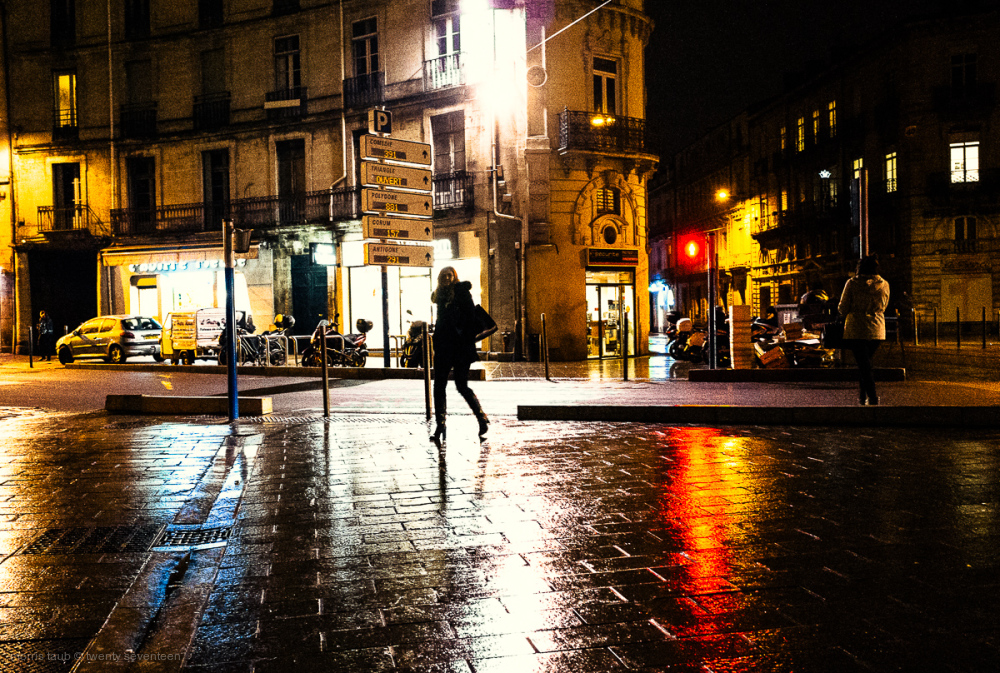 Bright lights, small city. Montpellier, France.