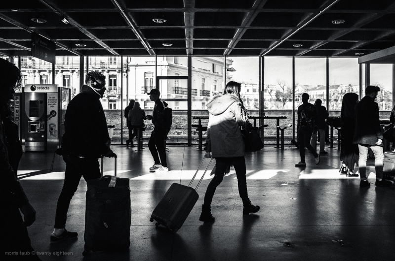Commuters going through gare St Roch, Montpellier.