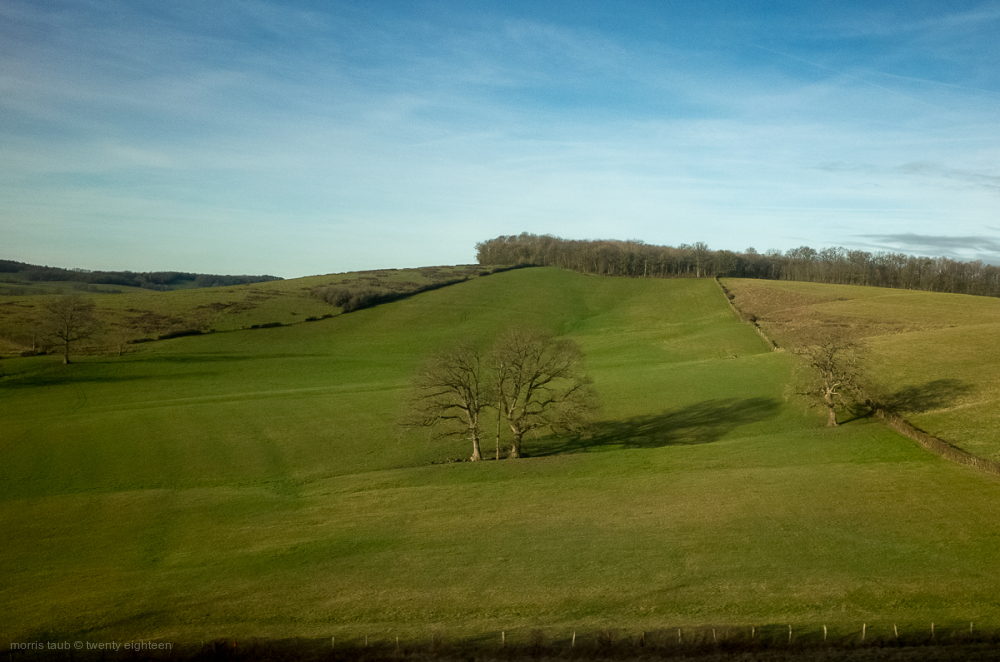 Landscape scene from train on way to Paris.