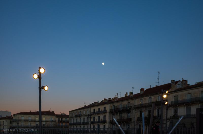 Moon with street light.