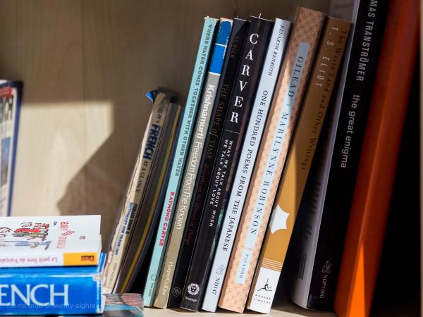 A shelf of books.