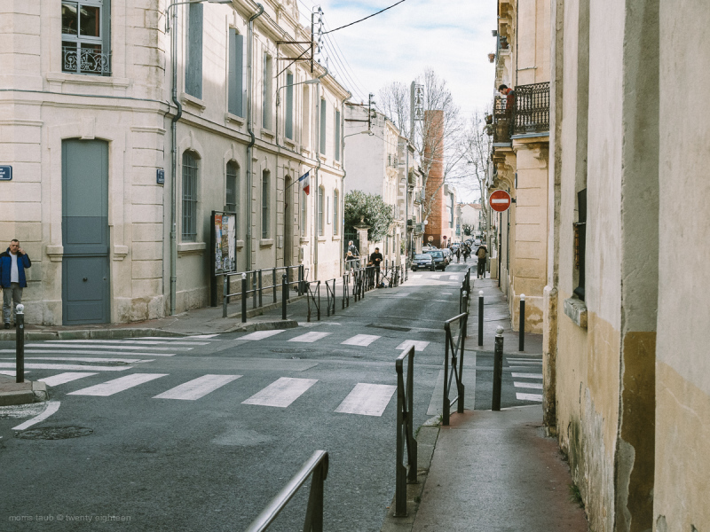 People on the street in Montpellier, France.