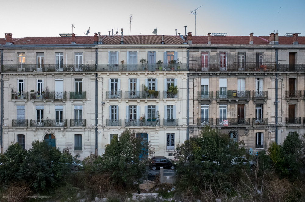 Apartment buildings in Montpellier, France.